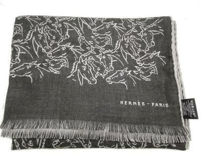 Buy: HERMES Dark Grey Light Grey Horse Pattern Cashmere Silk
