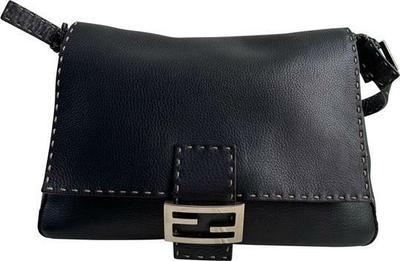Buy: Selleria Leather Black Mamma Baguette Shoulder Bag