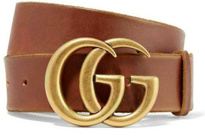 For  Sale: Brown New Thick 90 Cm Leather Gg Gold Logo Belt