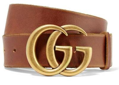 Buy: Brown New Thick 90 Cm Leather Gg Gold Logo Belt