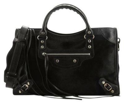 Buy: City Classic Studs Medium Black Pony Hair Shoulder Bag