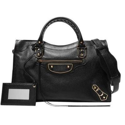 Buy: BALENCIAGA Metallic Edge City Tote Black Leather Satchel