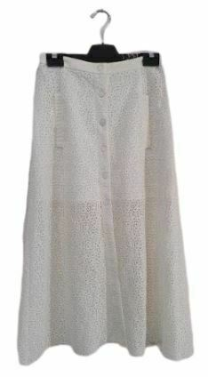 Re-sell: White Lace pattern midi skirt with Pockets Size 8