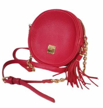 Buy: Red round crossbody bag with side tassel