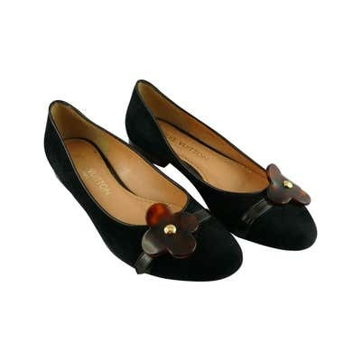 Re-sell: Black Suede and Resin Flower Ballet Flats Size 7.5