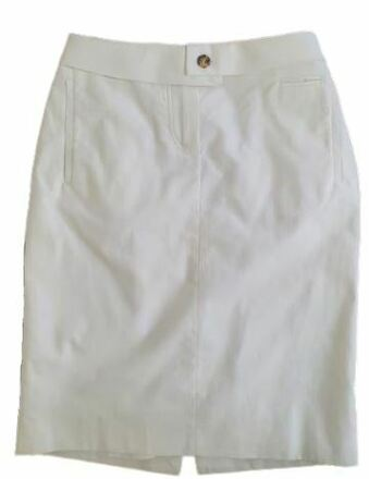Re-sell: White pencil Skirt with buckle belt Size 6