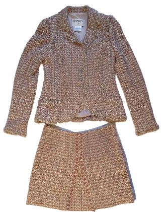 Re-sell: Pink and Gold Tweed Skirt Suit Size 6-8