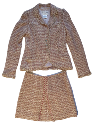 Buy: Pink and Gold Tweed Skirt Suit Size 6-8