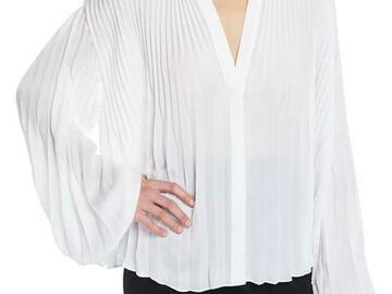 For  Sale: VINCE White with Tag Pleated V-neck Blouson-sleeve Blouse
