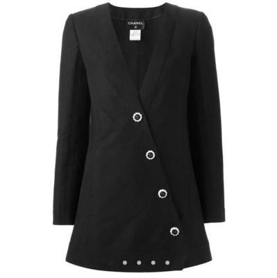 Buy: 2014 Runway Asymmetric Black Linen Jacket Size 12