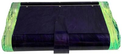 Buy: Box Acyclic Resin Lara Purple Green Mirror Clutch