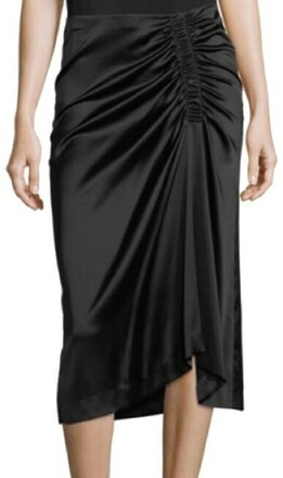 For  Sale: Black Stretch Satin Ruched Skirt Size 10