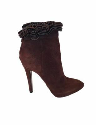 Buy: Ruffle-trimmed Leather Brown ankle boots heels Size 7