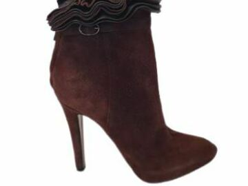 For  Sale: GIVENCHY Ruffle-trimmed Leather Brown ankle boots heels Size 7