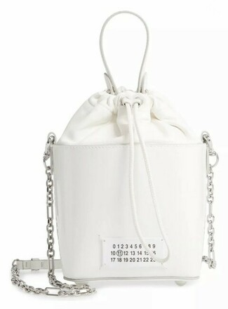 Re-sell: Bucket 5ac Patent WhiteSuede Leather Shoulder Bag