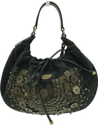 For  Sale: Black Gold Casual Beaded Applique Silk Bag Handbag