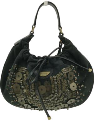 Buy: Black Gold Casual Beaded Applique Silk Bag Handbag
