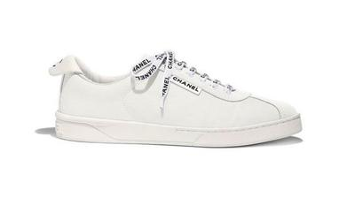 Buy: Ivory 19c Weekend White Canvas Cc Logo Lace Flat Runner Tr