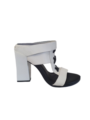 Buy: White leather block heels Size 9.5