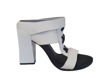 For  Sale: MANNING CARTELL White leather block heels Size 9.5