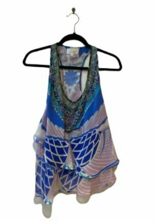 Re-sell: Blue printed silk embellished racer-back top Size 8