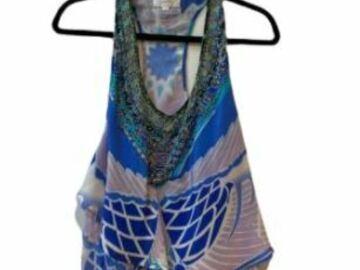 For  Sale: CAMILLA blue printed silk embellished racer-back top Size 8