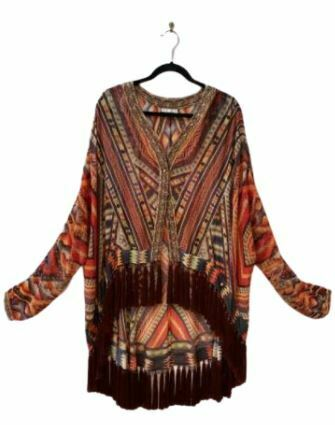 Re-sell: Warm print open front kimono jacket with tassel Size 8-10