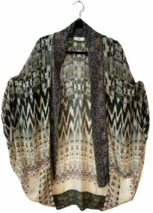 Re-sell: Silk printed open front kimono jacket