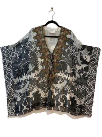 Re-sell: Silk printed kimono top