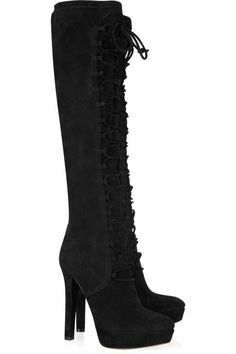 For  Sale: Lace-Up Suede Heel Boots Size 9.5-10