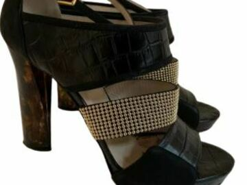 For  Sale: ESCADA black leather heels with Gold studs Size 9