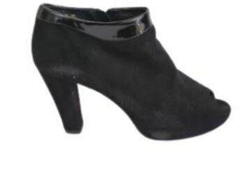 For  Sale: KATHY WILSON Black suede open toe booties Size 9.5