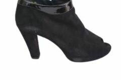 For  Sale: KATHY WILSON Black suede open toe booties Size 9.5