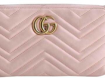 For  Sale: GUCCI Chain Marmont Gg Mini Pink Leather Cross Body Bag