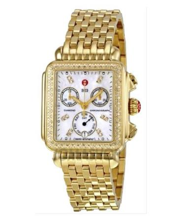 For  Sale: Gold Deco Day Mother Of Pearl Dial Diamond Dial Watch