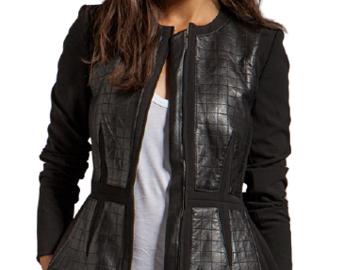 For  Sale: REBECCA TAYLOR Black Quilted Leather designer Jacket Size 6
