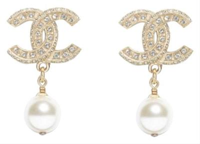 Buy: Gold Classic Pearly White Crystal Earrings