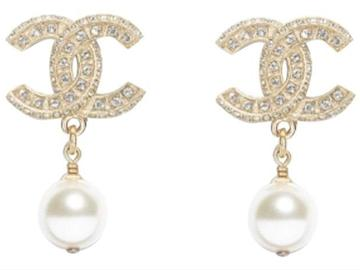For  Sale: CHANEL Gold Classic Pearly White Crystal Earrings