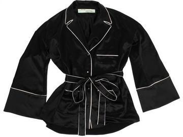 For  Sale: OFF-WHITE Black Satin with White Logo Pajama Shirt Button-