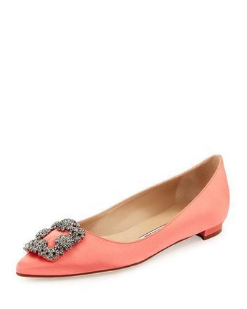 For  Sale: MANOLO BLAHNIK Coral Hangisi Crystal-buckle Satin Flats