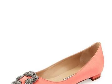 For  Sale: MANOLO BLAHNIK Coral Hangisi Crystal-buckle Satin Flats
