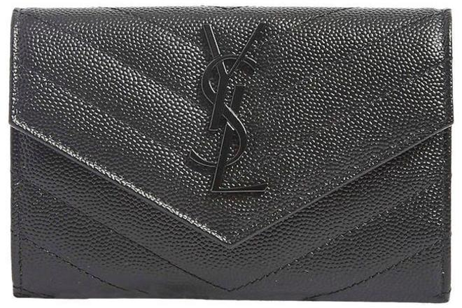 Re-sell: Black New Small Ysl Quilted Leather Wallet