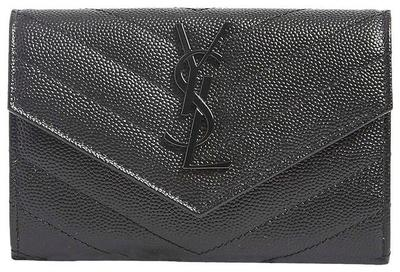 Buy: Black New Small Ysl Quilted Leather Wallet