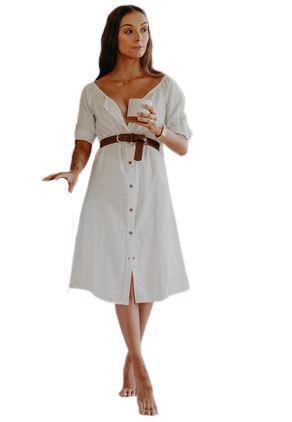 Re-sell: HEMP Off -Shoulder White Dress Size 8-14