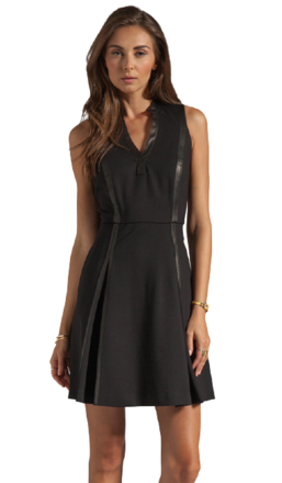 For  Sale: REBECCA TAYLOR Black Ponte Leather Panel Dress