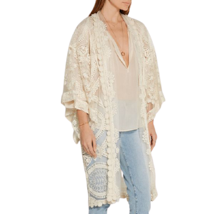 For  Sale: ANNA SUI Cream Lace kimono jacket Size 8-12