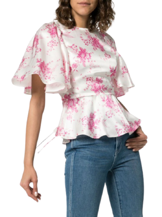 Re-sell: Pink floral silk top with back cutout Size 10