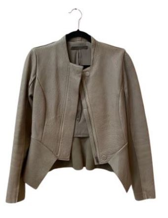 Re-sell: Grey Crepe front leather jacket Size 8