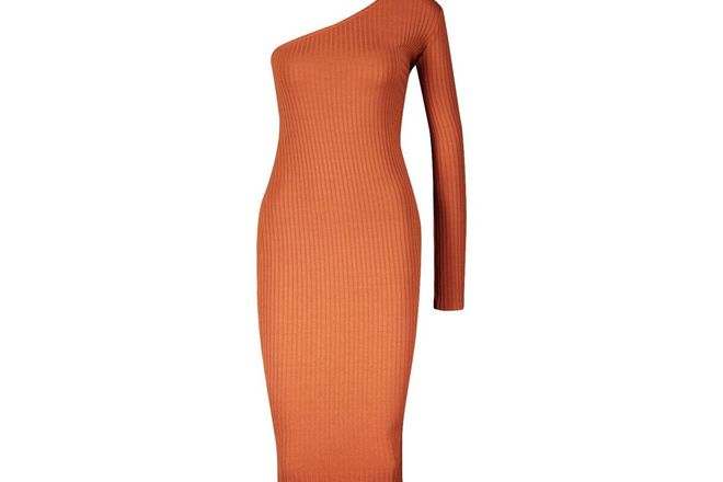 For  Sale: One shoulder ribbed orange dress BNWT Size 8