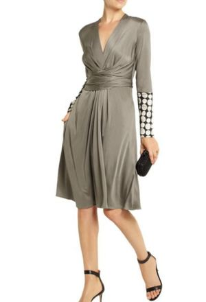For  Sale: Satin twill-trimmed silk-blend jersey dress Size 8